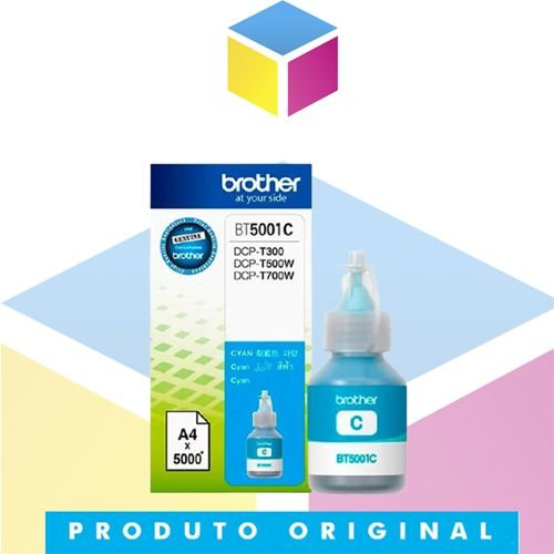 Tinta Brother BT-5001C BT5001 Ciano Original | DCP-T300 DCP-T500W DCP-T700W MFC-T800W | 41.8ml