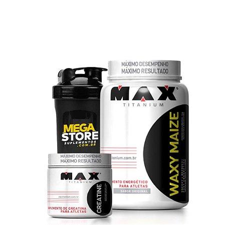 WAXY MAIZE (1Kg) + Crea (300g) + Brinde - Max Titanium