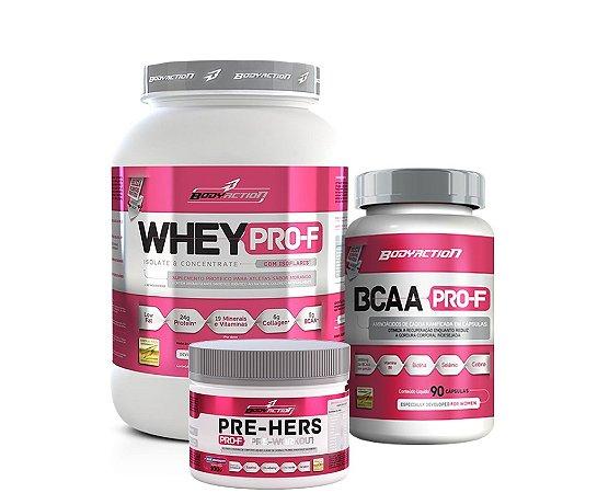 Whey Pro-F (900g) + Pré Hers (100g) + BCAA Pro-F (90 cápsulas)