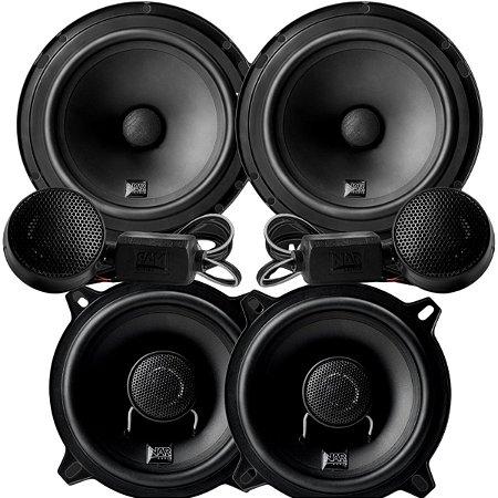 Alto Falante Kit 2 Vias Nar Audio 6 Pelegadas 600cs1 + Coaxial 5 Polegadas 525cx1 200rms Som Automotivo