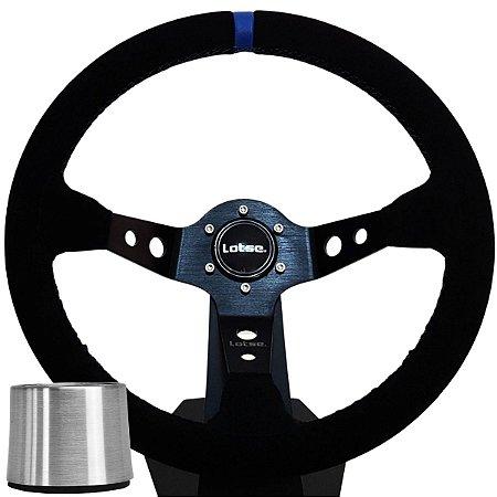 Volante Esportivo Lotse Dakar Camurça Tarja Azul + Cubo De Instalação