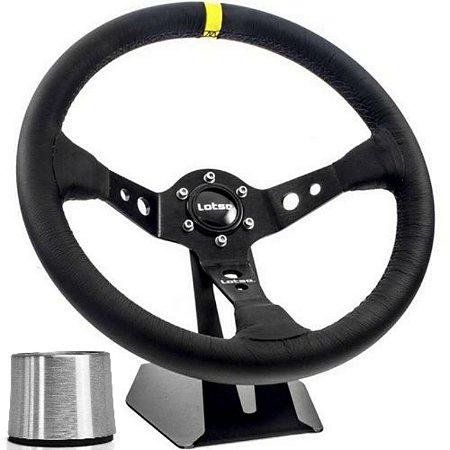 Volante Esportivo Lotse Dakar Couro Tarja Amarela + Cubo De Instalação