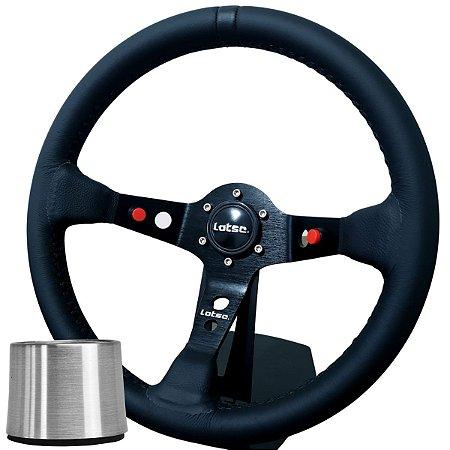 Volante Esportivo Lotse Dakar Couro Preto Tarja Preta + Cubo de Instalação