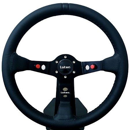 Volante Esportivo Lotse Dakar Couro Tarja Preta Com Botão