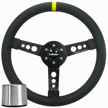 Volante Esportivo Lotse Maxx Competition Couro Preto Tarja Amarela + Cubo de Instalação