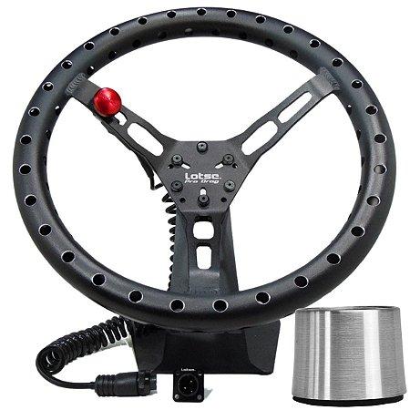 Kit Volante Esportivo Lotse Pro Drag Aliviado + Botão + Cubo de Instalação