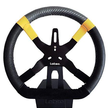 Volante Esportivo Lotse Kart K20 Tarja Amarela Suporte Dash