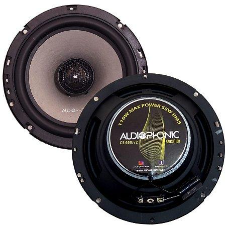 Kit Coaxial Falante Audiophonic Sensation 110w Rms 6 polegadas CS650 V2 Som Automotivo