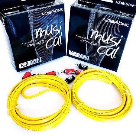 Kit 2 Cabo Rca Audiophonic Need 3 Metros Modulo Amplificador