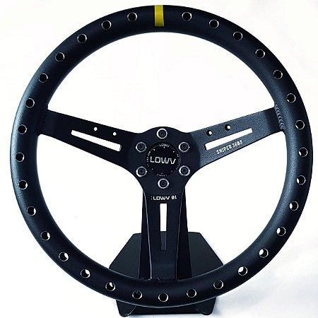 Volante Esportivo Lowv Sniper Preto Aliviado Em Alumínio Tarja Amarela