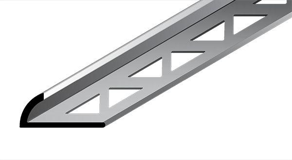 Perfil Arredondado em Alumínio de espessura de 8 mm com acabamento natural.