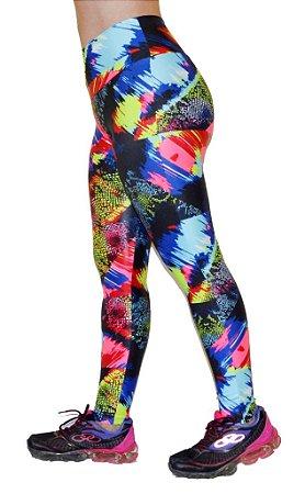 Calça Legging Cirre Estampada Fluorescente com Brilho