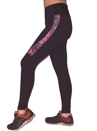 Calça Legging Suplex com Detalhe Estampado