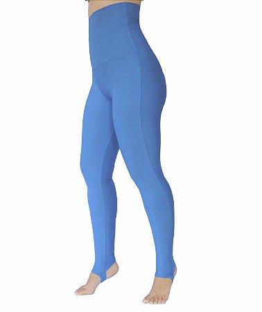 Calça Legging Cintura Alta Modeladora Azul Claro Pezinho