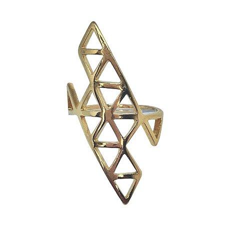 Anel Triângulos B dourado