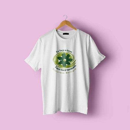 Camiseta em algodão branca eu faço o bem faça você também