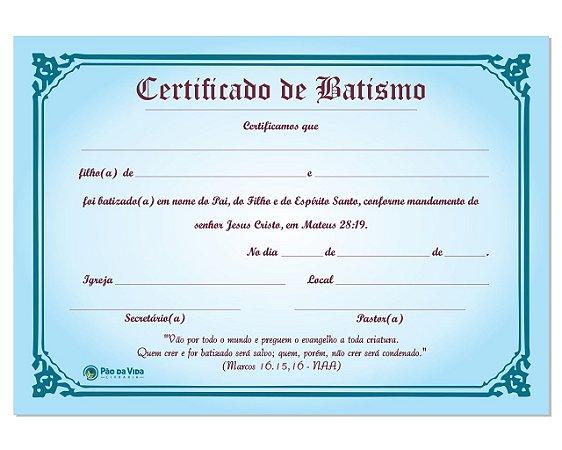 CERTIFICADO DE BATISMO - 5 UNIDADES