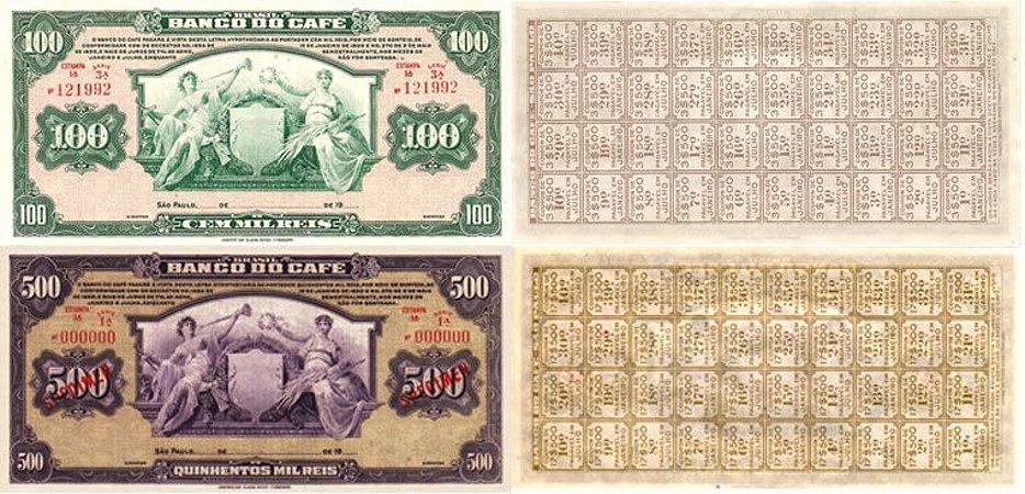 Cédulas de Reis do Banco do Café 100 Mil e 500 Mil Reis - Réplicas