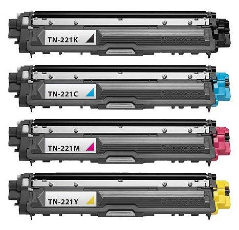 Kit 4 Toner Compatível Brother TN221 CMYK MFC 9330CDW HL 3140CW DCP 9020CDN