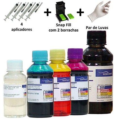 Kit Tinta Sensient Recarga Cartucho HP 21 | 22 | 60 | 61 | 122 | 662 | 664 | 675 + Snap (Photo Kit)