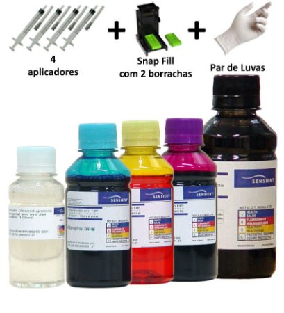 Kit Tinta Sensient Recarga Cartucho Canon 44 | 54 | 140 | 141 | 145 | 146 | 210 | 211 + Snap