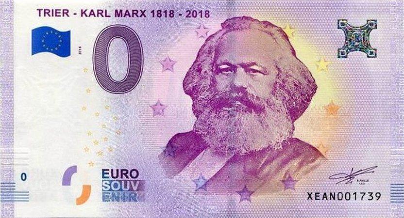 Cédula de Zero Euro comemorativa dos 200 Anos de Marx - Réplica
