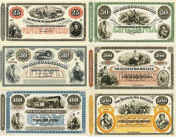 6 Belas Réplicas Cédulas de Reis do Banco do Brasil - Império do Brasil Caixa Matriz