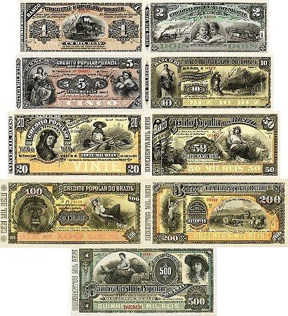 9 Belas Réplicas Cédulas de Reis do Banco de Crédito Popular do Brasil