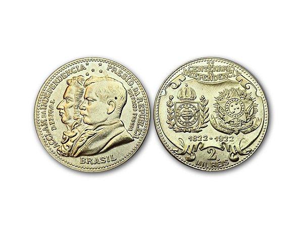 Moeda 2000 Réis De 1922 do 1° Centenário da Independência - RÉPLICA
