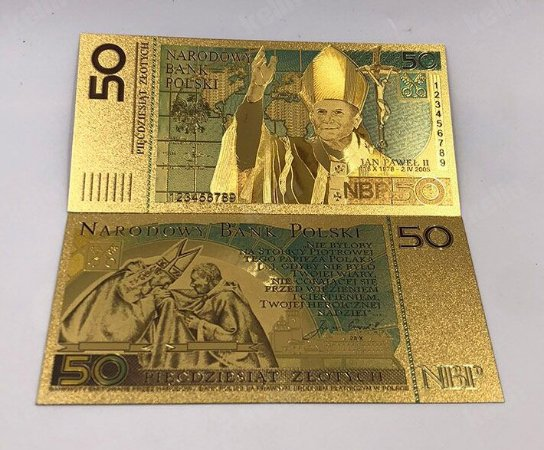 Nota João Paulo II - Poland Polônia 50 Zlotych Dourada