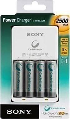 Carregador Sony + 4 Pilhas Aa Recarregável 2500 Mah Original