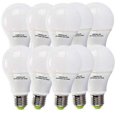 Lâmpadas 9w Led Bulbo Alumínio E27 6500k Bivolt Branco Frio Kit Com 10 Lampadas