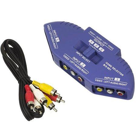 Chaveador Rca Audio E Video 3 Entradas 1 Saída