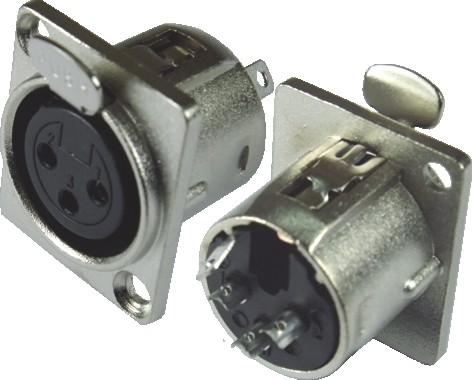 Conector Xlr 3 Pinos Para Painel Com Trava