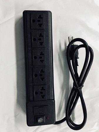 Régua com  5 Tomadas padrão novo e antigo  - Power Tech