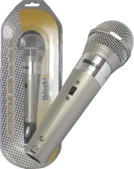 Microfone Plastico Com Cabo Cor Preto Tblack