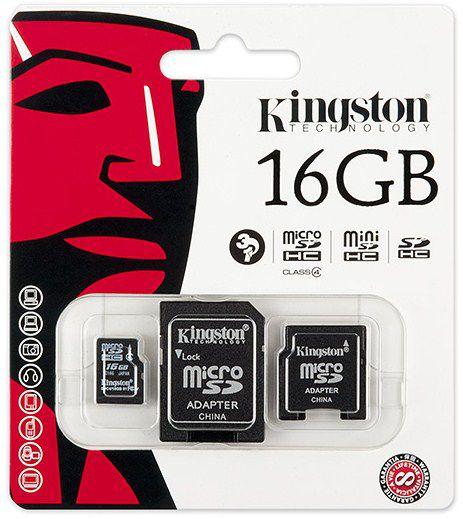 Cartão De Memoria Classe 4 Kingston 16gb Micro Sd 8gb Com Adaptador Sd
