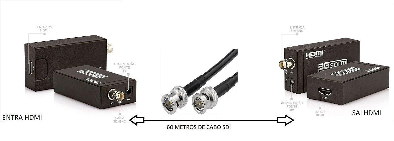 Kit Extensor HDMI via Cabo SDI Full HD dupla blindagem  com 60 metros + Conversor HDMI/SDI e SDI/HDMI