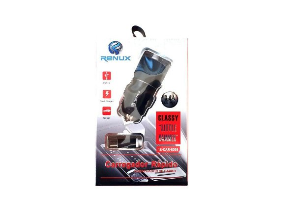 Carregador Veicular para celular androide v8 2 USB 3.4 femea Espiral  Carrega rápido Renux