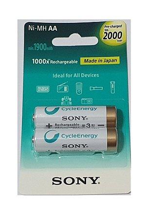 Pilha Sony Recarregável Aa 2000 mah Com 2 Unidades