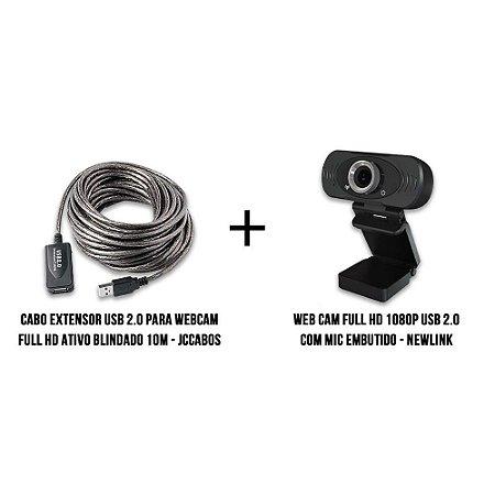 Cabo Extensor Usb 2.0 Para Webcam Full HD Blindado 10 metros + Webcam Full HD Newlink 1080p kit live