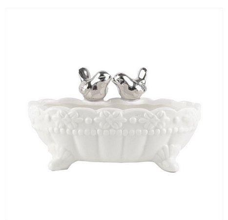 Banheira Saboneteira de Porcelana Passarinhos