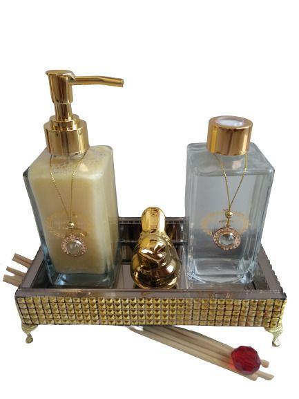 Kit luxo lavabo bronze e dourado Summer (limão siciliano e musk)