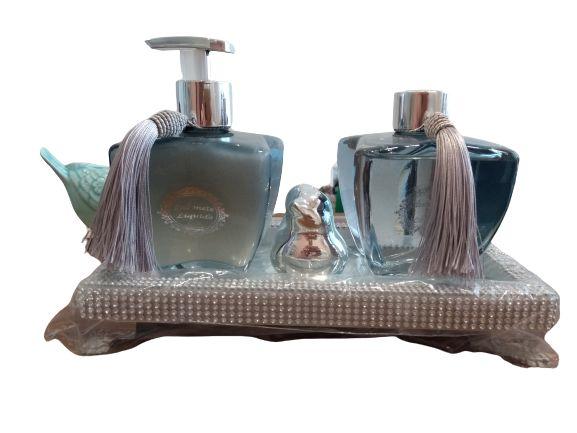 Kit Super luxo lavabo prata e azul