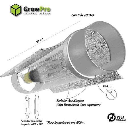 Refletor Indoor Cooltube ECONO-TUBE opção de 150mm X 63cm até 1000w com cabo 4 Metros