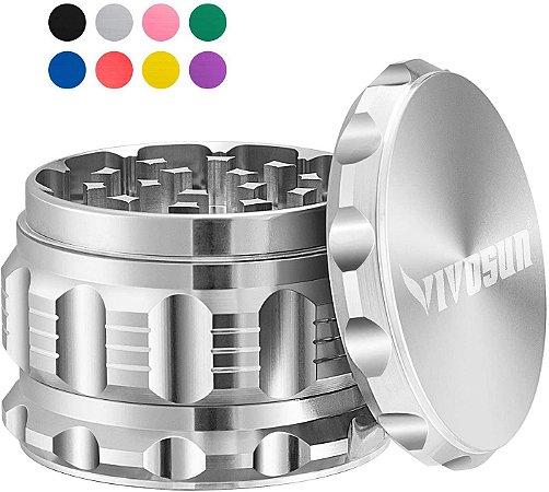 "Dichavador Triturador Moedor de Ervas em Aluminio 2,5"" VIVOSUN 3 Estágios - SILVER"
