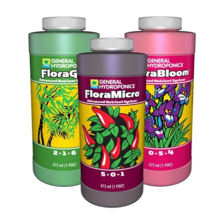 FloraSeries Pack General Hydroponics - Base Nutrientes 3-Partes opção de 946ml a 3,79L