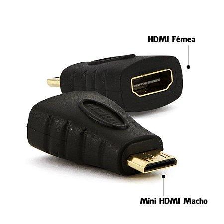ADAPTADOR HDMI FÊMEA PARA MINI HDMI MACHO
