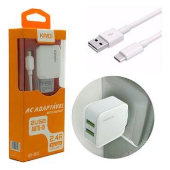 Carregador de Celular Fonte USB 2.4A Kaidi KD-301C