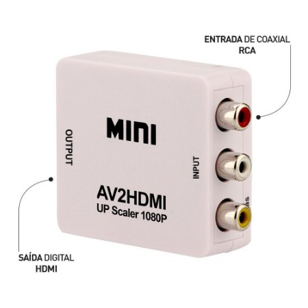 MINI CONVERSOR VÍDEO COMPOSTO (RCA) PARA HDMI